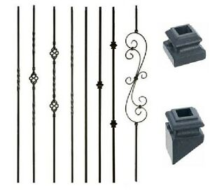 Iron Balusters Metal Spindles Stair Parts Twists, Baskets, Scrolls - Satin Black