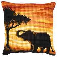 Sonnenuntergang Elefant groß Gelochte Gobelin Kissen Set/Bedruckt Grob