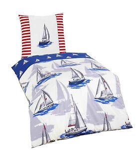 bettw sche segelboot maritim nordsee meer maritime renforce bettw sche neu ebay. Black Bedroom Furniture Sets. Home Design Ideas