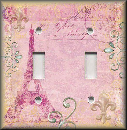 Eiffel Tower Decor Paris My Love  Light Pink Metal Light Switch Plate Cover