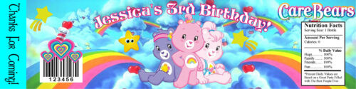 10 CARE BEARS PERSONALIZED BIRTHDAY PARTY FAVORS WATER BOTTLE LABELS WRAPPERS
