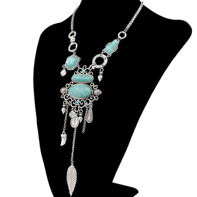 vintage Silver Turquoise Hippie Bohemian Ethnic Boho Festival Necklace Jewelry