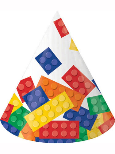 8 x Lego Inspired Block Birthday Party Cone Shaped Paper Hats