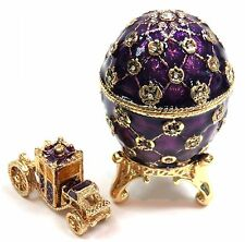 Faberge Egg Box with Mini Carriage Hand Painted Easter Egg Box with Crystals