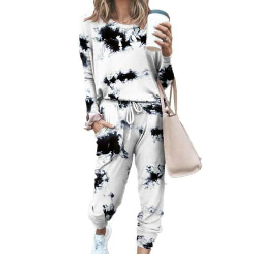 Pants Joggers Suit Tracksuit Set Details about  /Women/'s Tie Dye Lounge Wear Sweatshirt Tops