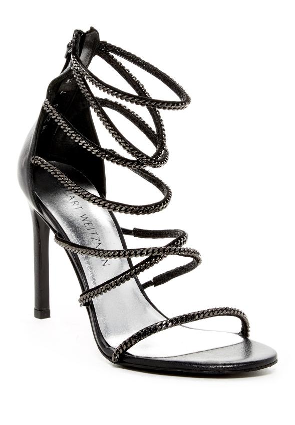 Stuart Weitzman XChain Women's Black Leather Strappy Sandal Sz 10M 3548