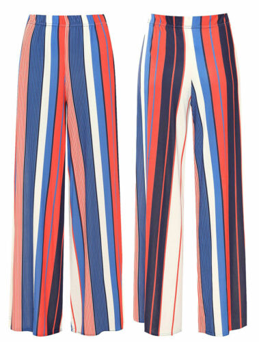 Womens Plus Size Striped Print Wide Flared Leg Palazzo Trousers Ladies Pants
