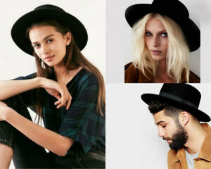 d94965569d5e8 Wool Pork Pie Boater Flat Top Hats For Women Men Wide Brim Fedora ...
