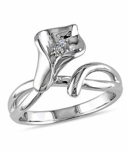 Amour Sterling Silver Diamond Calla Lily Flower Ring G-H I1-I2