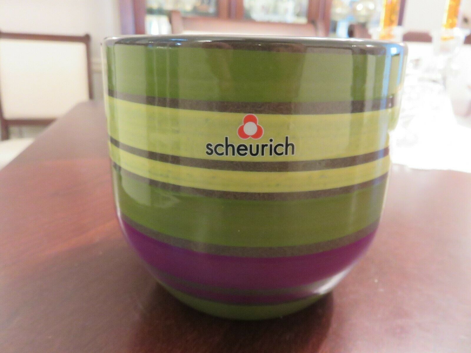 """Planter Menthe En Pot vtg scheurich pottery 4 1/2"""" pure lines green purple striped planter pot 4  7/8"""""""