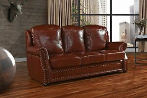 Details about Leather Sofa 3 Seater, Living Room Couch with Nailhead Trim  (Light Brown)
