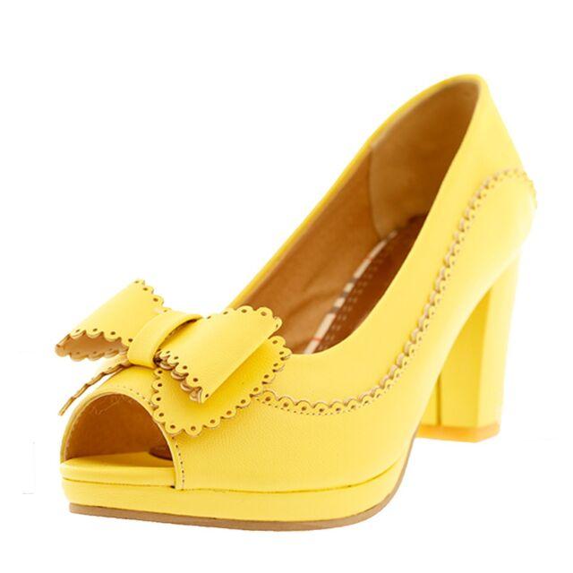 Ladies Womens PUMPS Block Heel Platform PEEP Toe Shoes UK Sz 1 2 3 4 ... 6adf8a1e77