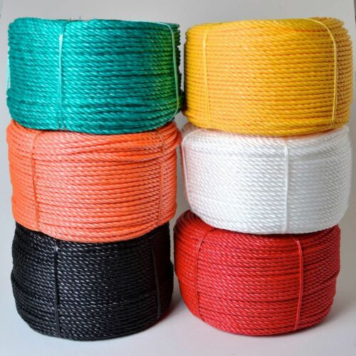 100M TRADE REELS QUALITY COLOURED POLYPROPYLENE POLY ROPE 4MM 6MM 8MM 10MM 12MM