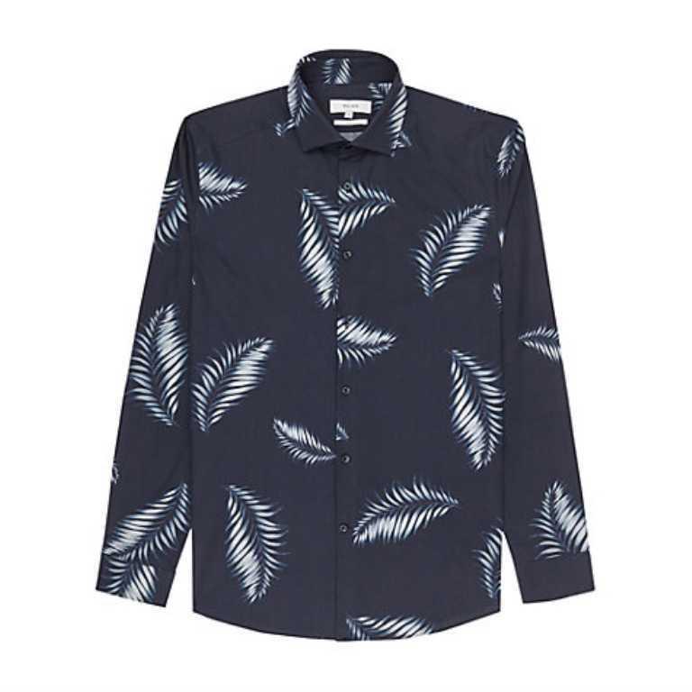 BNWT Reiss 'Island' Slim Fit Camicia in cotone cotone cotone RRP  TAGLIA  Large 163c4b