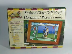 CLUBHOUSE-COLLECTION-STAINED-GLASS-MOTIF-PICTURE-FRAME-4-X-6-PHOTO-WOOD-FRAME