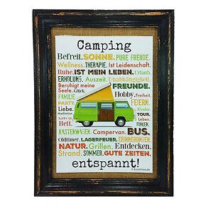 Camping-entspannt-Druck-Poster-A4-Bus-Camper-Caravan-Geschenk-AnneSvea-Typo-Womo