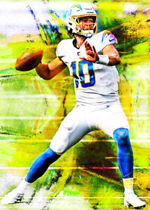 2021 Justin Herbert Chargers Football 4/25 Art ACEO Print Card By:Q