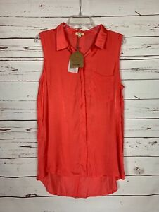 Kori America Boutique Women's L Large Coral Sleeveless Spring Tunic Top NEW TAGS