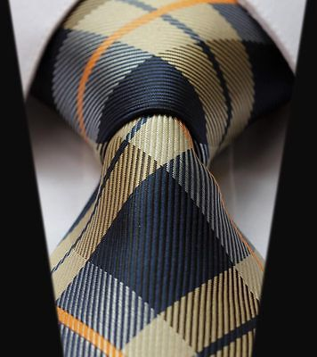 Mens Tie SALE -Original Scottish Tartan- Champagne Gold Royal Navy Blue Orange