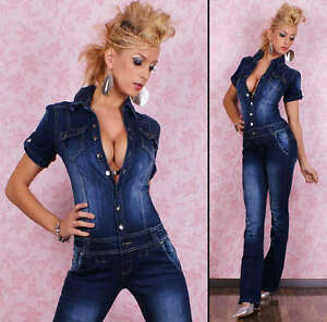 HOT-Sexy-Denim-overalls-BIB-Jumpsuit-with-destroyed-Look-Jeans-Size-6-14
