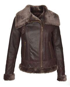 Jacket Sheepskin Merino Aviator Luxurious Super Shearling Real Coat Girls Womens qwxP6I