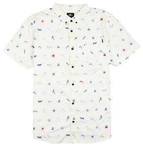 O-039-NEILL-Backyard-BBQ-Short-Sleeve-Button-Shirt-X-Large-White-Fireworks-4th-USA