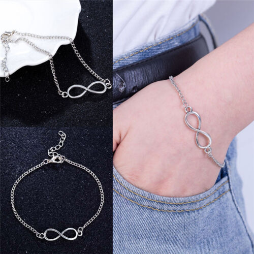 Men Women Silver Plated 8-Character Lucky Bracelet Hand Chain Jewelry Fashi CA