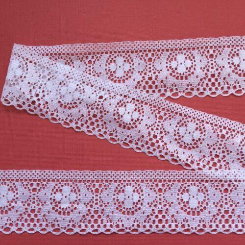 """/""""LACETS GALORE/"""" ~ Blanc Lumineux Nottingham Dentelle 1.75/""""//4.5 cm Trim Craft"""