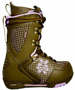 $150 Womens Silence High End Brown Purple Snowboard Boots USA Ladies Size 8 10