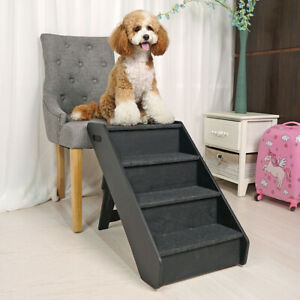 Miraculous Details About Portable Non Slip Pet Dog Cat Climb Ramp Stairs Ladders 4 Steps Black New Dailytribune Chair Design For Home Dailytribuneorg
