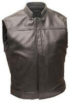 Mens REAL BLACK Cow Leather Waistcoat Bikers Vest Jacket (B1)