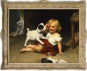 Old-Master-Art-Antique-Oil-Painting-Portrait-small-girl-dog-on-canvas-30-034-x40-034