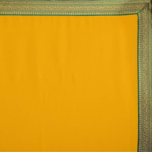 Yellow Chiffon Solid Plain Saree With Lace Border And Unstitched Blouse Freeship