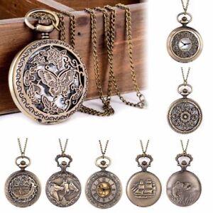 Poche-Regarder-Pendentif-Collier-Retro-Vintage-Steampunk-Bronze-Quartz-Cadeau