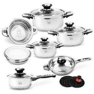 Aurich-16pc-Stainless-Steel-Cookware-Set-Pot-Saucepan-Frypan-Casserole-Lid