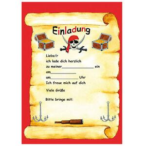 Das Bild Wird Geladen Einladungskarten Piraten Schatzsuche Kindergeburtstag  Mottoparty 12x Pirat