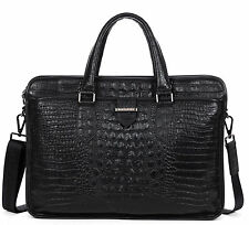 Men's Real Leather Crocodile Grain Briefcase Portfolio Attache Case Laptop Bag