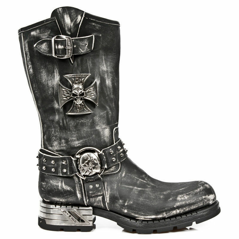 Newrock New Rock mr030-s2 NERO RUB OFF Gotico occidentale Scarpe Stivali Biker in Pelle