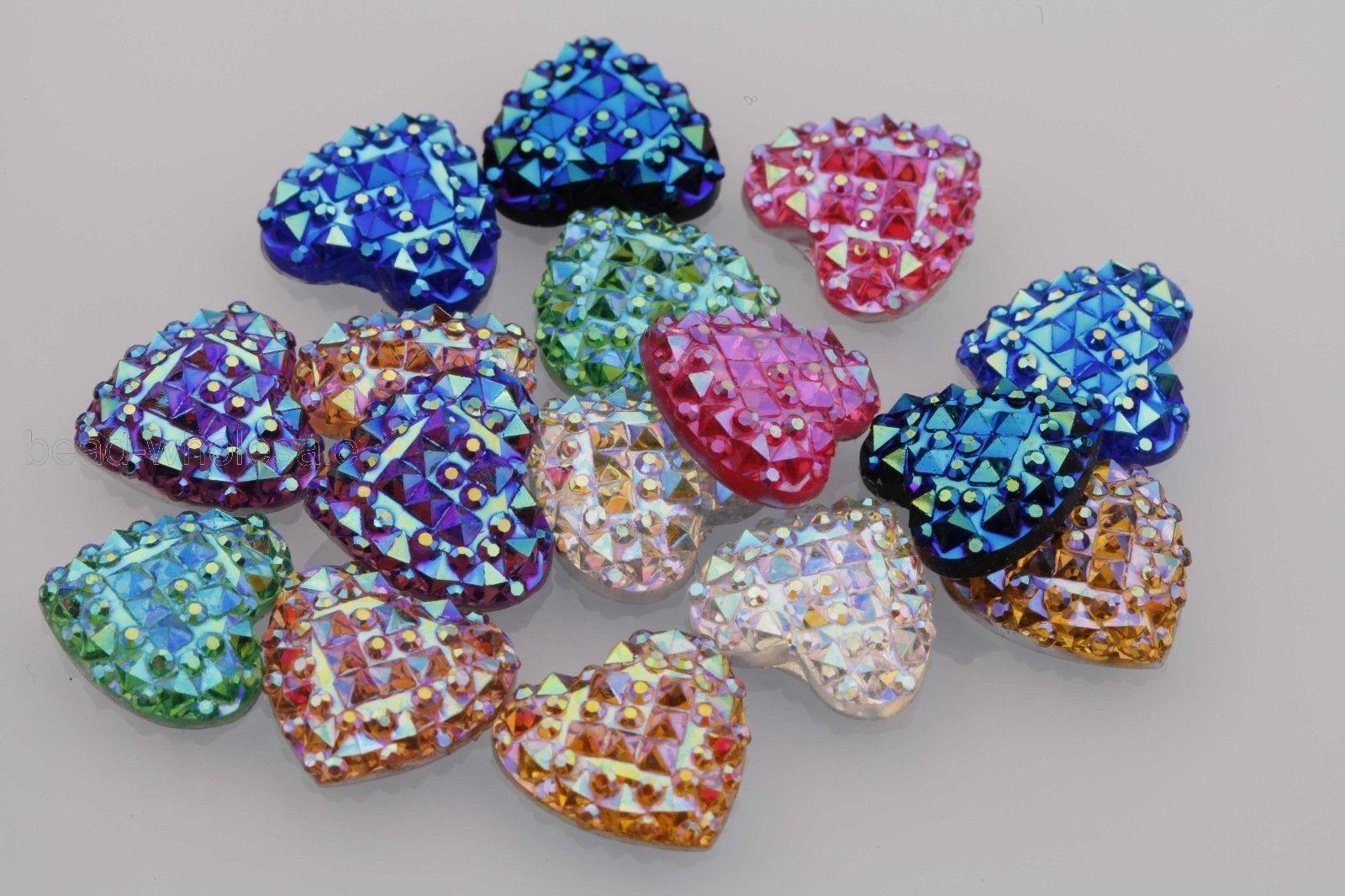 50X DIY Colorful Resin Heart Bling Flatback Scrapbook Decor for Phone//Wedding