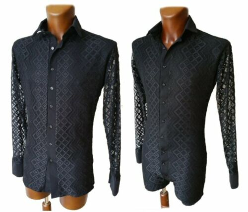 PARTY SHIRT ON SHORTS MENS  STRETCHY LACE ON UNDERLAY LATIN TANGO DANCE