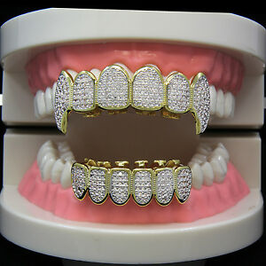 Details about 14K Gold Plated High Quality CZ Fang Top   Bottom GRILLZ Mouth  Teeth + Free Gift 46fc95ac3b76