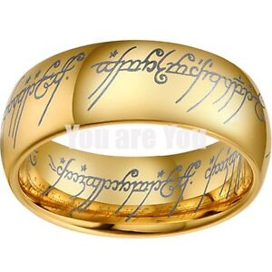 Lord of the Elvish Rings 18k Gold Tungsten Carbide ONE ...