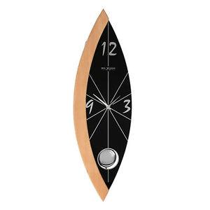 Sleek-Black-Glass-and-Wood-Pendulum-Wall-Clock