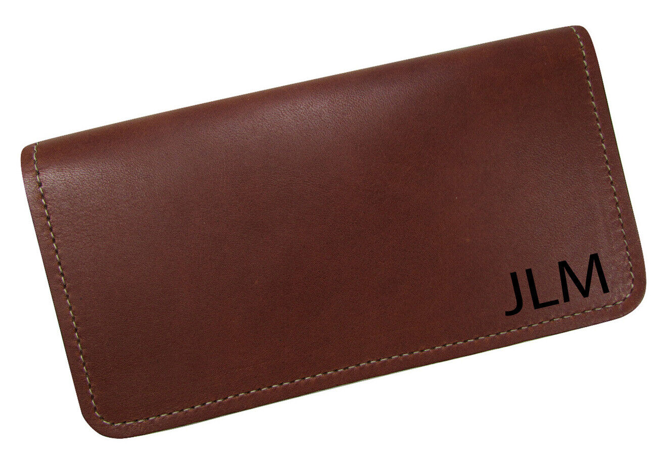 New Personalized Name or Monogram Leather Checkbook Cover USA Made Saddle Brown