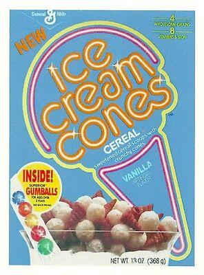 ICE CREAM CONES Cereal Box Retro Vintage HQ  Fridge Magnet *02