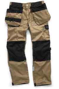 Scruffs-Trade-Work-Trousers-Brown-Multi-Pocket-Beige-Knee-pad-Pockets