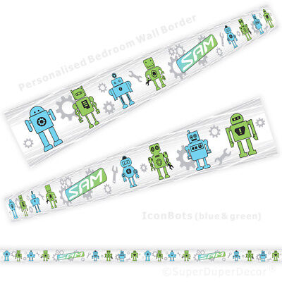 personalised wallpaper strips boys childrens room ROBOTS bedroom WALL BORDER