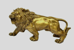 Chinese-Collectible-Brass-Handwork-carved-Lion-statue