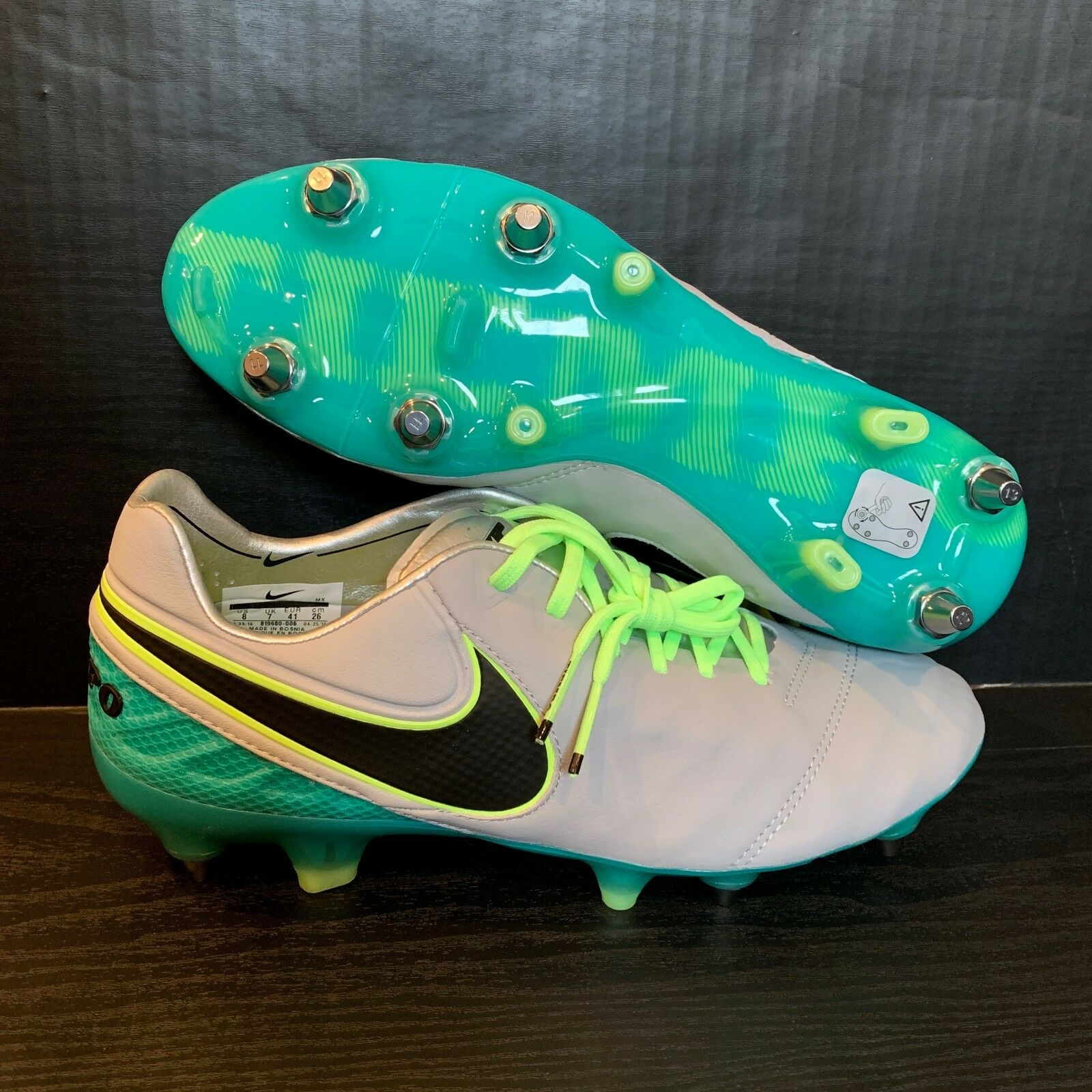 Nike Tiempo Legend VI SG-PRO Cleats Grey Green Size Mens 8 Womens 9.5 819680-006