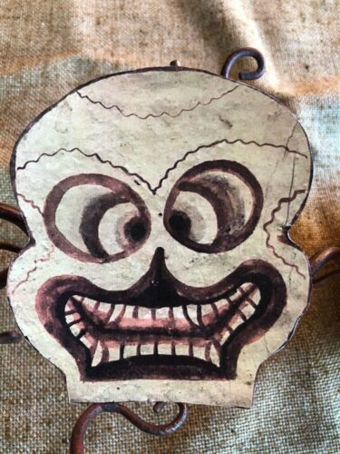 """Vintage Repro Skeleton Skull Toothy Mouth Halloween Cardstock Decoration 9/"""""""
